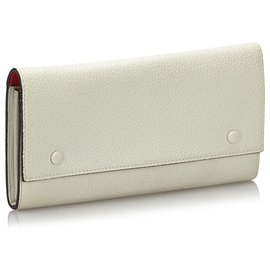 Céline-Celine White Leather long Wallet-White,Red,Cream