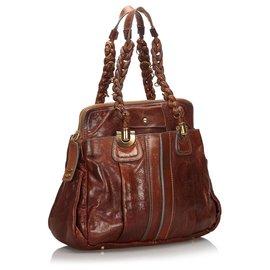 Chloé-Chloe Brown Leather Heloise Shoulder Bag-Brown