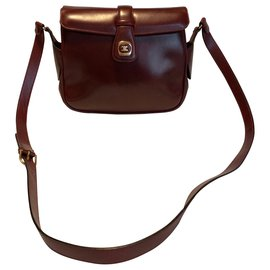 Céline-Vintage Céline cross body bag-Dark red