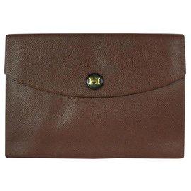 Hermès-Rio clutch 24cm in Courchevel cocoa leather-Brown