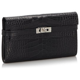 Hermès-Hermes Black Alligator Kelly Wallet-Black