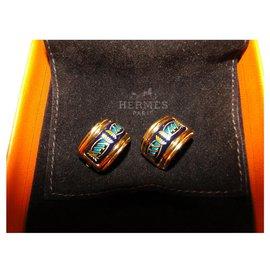 Hermès-Clips d'oreilles HERMES émail et métal doré-Bleu foncé