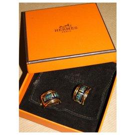 Hermès-HERMES enamel and gold metal ear clips-Dark blue
