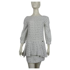 Chanel-Chanel Dress 38  black and white Cotton Tweed-Black,White
