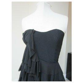 Acne-Ruffled corset dress-Black