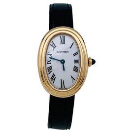 """Cartier-Montre Cartier, """"Baignoire"""" en or jaune, bracelet cuir.-Autre"""