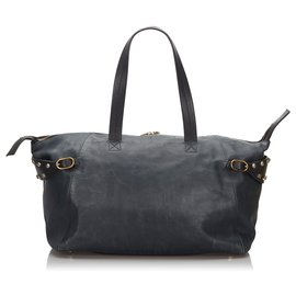 Céline-Celine Blue Leather Boston Bag-Black,Blue,Navy blue