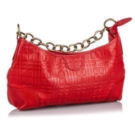 Burberry-Burberry Red Leather Chain Shoulder Bag-Red