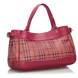 Burberry-Burberry Pink Haymarket Check Leather Shoulder Bag-Pink