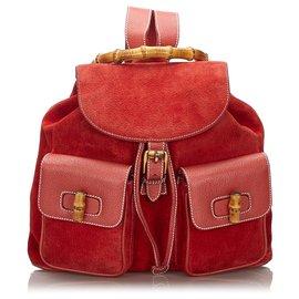 Gucci-Sac à dos Gucci en bambou rouge avec cordon de serrage-Rouge
