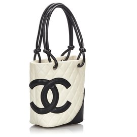 Chanel-Sac Chanel Blanc Ligne Cambon-Noir,Blanc,Écru