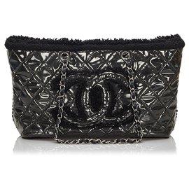 Chanel-Sac cabas à chaîne en vinyle noir Chanel-Noir