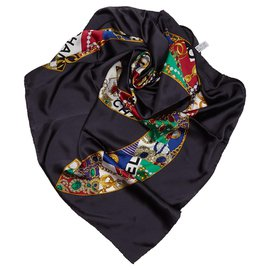 Chanel-Chanel Black CC Print Silk Scarf-Black,Multiple colors