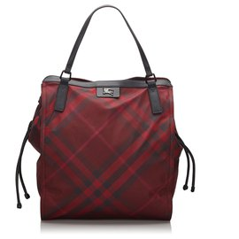 Burberry-Burberry Red Mega Check Nylon Buckleigh Tote Bag-Black,Red,Other
