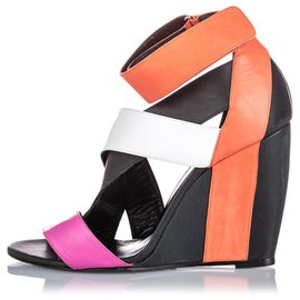Pierre Hardy-Pierre Hardy Black Leather Strappy Wedge-Black,Multiple colors