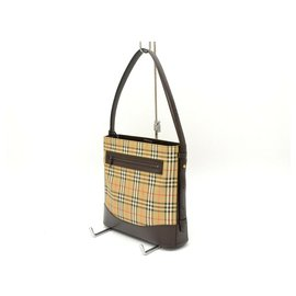 Burberry-Burberry Canvas Leather Shoulder Hand Bag Plaid-Beige