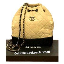 Chanel-Sacs à dos-Noir,Beige