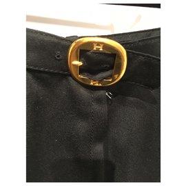 Hermès-Pantalons, leggings-Noir