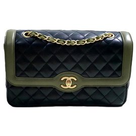 Chanel-Sac Chanel Flap Medium Cruise 2016-Bleu,Vert olive