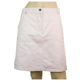Hermès-Hermes White 100% Cotton Mini Distressed skirt size 38 with front & back pockets-White