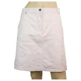 Hermès-Hermes White 100% Mini jupe en coton effet vieilli 38 avec poches avant et arrière-Blanc