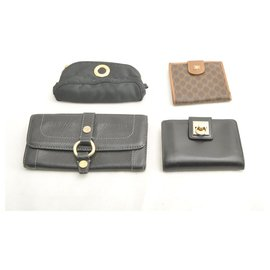 Céline-Céline Macadam PVC Leather Nylon Wallet Pouch 4SET-Black
