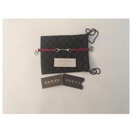 Gucci-Bracelet mors Gucci-Argenté,Rouge