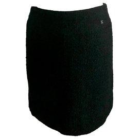 Chanel-Chanel tweed skirt black-Black