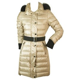 Burberry-Burberry Beige Gold Quilted Puffer Winter Fur Hood Long Fitted Jacket US 4 IT 38-Golden