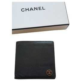 Chanel-Chanel vintage mini wallet caviar leather-Noir