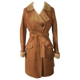 Céline-Coats, Outerwear-Eggshell,Caramel