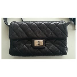 Chanel-Belt bag 2.55 black leather-Black