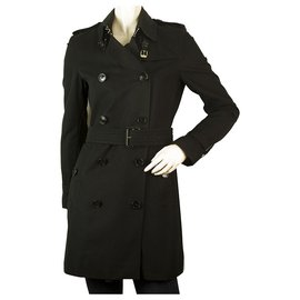 Burberry-Burberry Black Cotton Raincoat Mac Belted Trench Jacket Coat UK 6 USA 4-Black