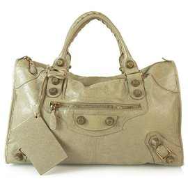 Balenciaga-Balenciaga Taupe Distressed Leather Large City Bag with giant rose gold hardware-Taupe