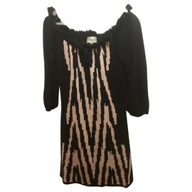 Temperley London-Silk knit dress-Black,Caramel