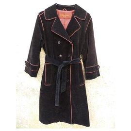 Yves Saint Laurent-Manteaux, Vêtements d'extérieur-Noir,Rouge