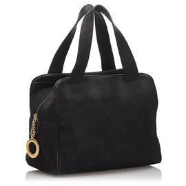 Céline-Celine Black Leather Handbag-Black