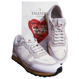 """Valentino Garavani-baskets Valentino Rockrunner"""" l'amour """"-Blanc,Beige,Gris"""