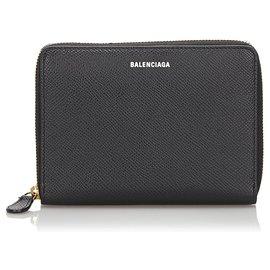 Balenciaga-Portefeuille en cuir noir Balenciaga-Noir