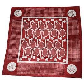 Hermès-Silk scarves-White,Dark red