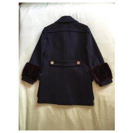 Gucci-Manteau poignets vison-Bleu Marine