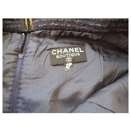 Chanel-Semi wrap skirt, 42?-Navy blue