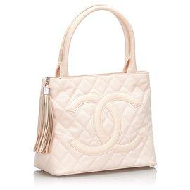 Chanel-Sac cabas médaillon en toile rose Chanel-Marron,Rose,Beige
