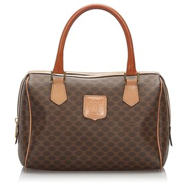 Céline-Celine Brown Macadam Boston Bag-Brown