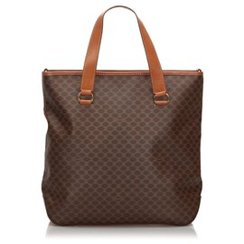 Céline-Celine Brown Macadam Tote Bag-Brown,Beige,Dark brown