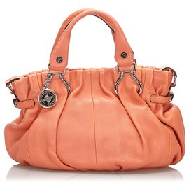 Céline-Celine Orange Leather Satchel-Orange