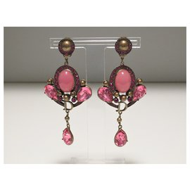 Dior-Boucles d'oreilles en or antique John Galliano for Dior-Doré