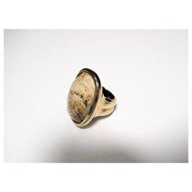 Autre Marque-Bague plaquée or Dyrberg / Kern avec pierre marbrée-Doré