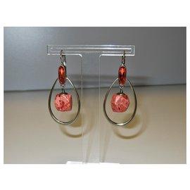 Autre Marque-Boucles d'oreilles Dyrberg / Kern avec cristal et pierre de corail-Orange