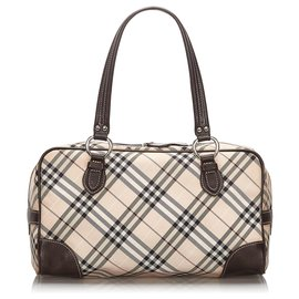 Burberry-Burberry Brown Plaid Jacquard Shoulder Bag-Brown,Multiple colors,Beige